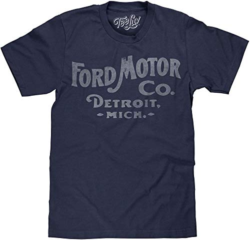 Ford Motor Co. Detroit Michigan Men's T-Shirt Poly Cotton Blend Classic Look - XX-Large Midnight Navy Heather
