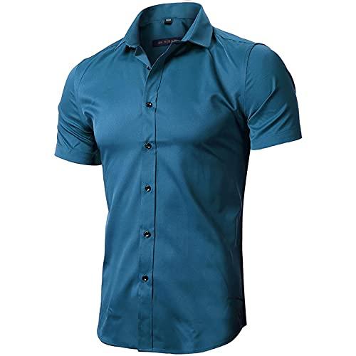 INFLATION Herren Hemd aus Bambusfaser umweltfreudlich Elastisch Slim Fit für Freizeit Business Hochzeit Reine Farbe Hemd Kurzarm Herren-Hemd Blaugrün DE 2XL (Etikette 44)