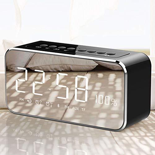 Digitale wekkerradio met bluetooth-luidspreker, led-digitale klokken, Bedside met spiegelalarm, draagbare radio, dimbaar, snooze voor thuis of op kantoor zwart