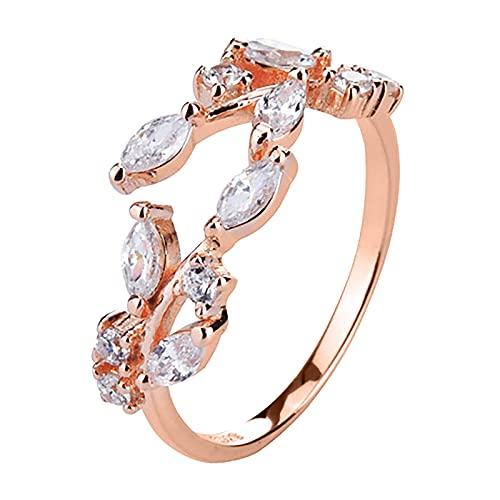 minjiSF Anillo abierto para mujer con diseño de hoja de diamante ajustable pequeño fresco, anillo de boda para mujer (oro rosa)