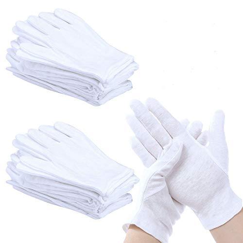 PERFETSELL 12 Paar Weiße Handschuhe Baumwolle Weiche Baumwollhandschuhe Atmungsaktive Arbeitshandschuhe Damen Stoffhandschuhe für Inspektion von Schmuck Münzen Silber Oder Empfindlichen Oberflächen