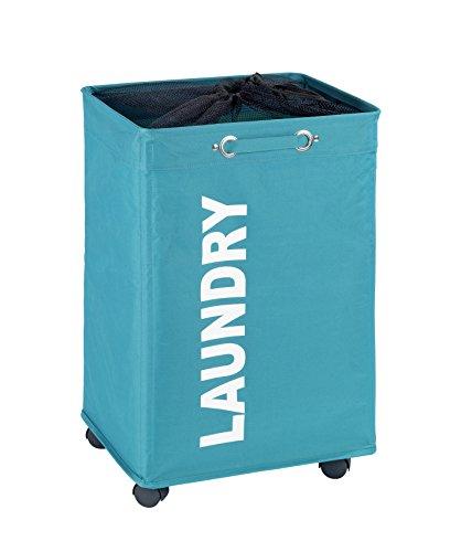 Wenko Wäschesammler Quadro petrol, stabiler Wäschekorb, Wäschetonne mit Rollen, Wäschetruhe mit Griff, 100% Polyester, Fassungsvermögen 79 L, 140 x 60 x 33 cm