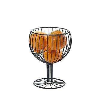 MAYITBE Wine Glass Decor Fruit Basket Round Tiered Wire Basket Snacks Candy Storage Fruit Container Basket Vegetable Rack Wine Glass Cork Holder Restaurant Decor Black A