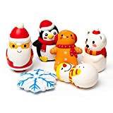 MALLMALL6 6pcs Christmas Slow Rising Squishies Toys for Kids and Adults, Jumbo Snowman Penguin Polar Bear Santa Claus Snowflake Soft Stress Relief Toys for Christmas Party Decoration Birthday Gifts