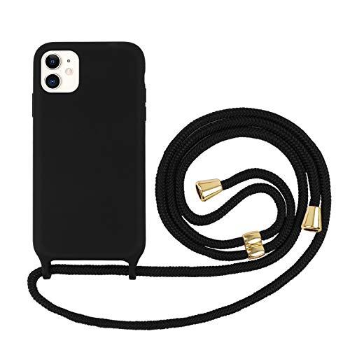 Ciujoy Handykette Hülle für iPhone 11Necklace Hülle mit Kordel zum Umhängen Silikon Handy Schutzhülle mit Band - Schnur mit Case zum umhängen schwarz