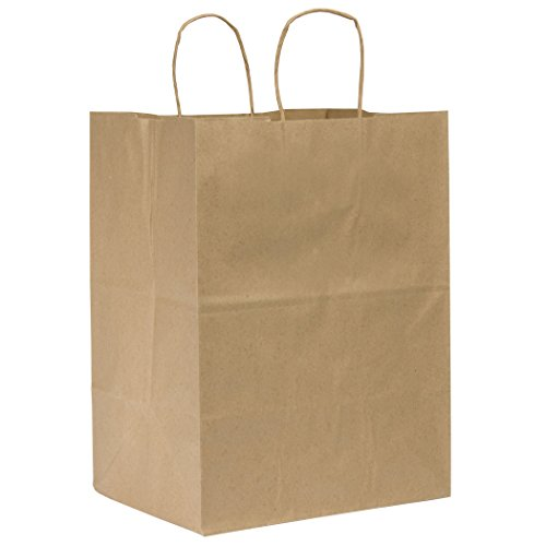 Duro ID# 87415 Regal Shopping Bag 65# 100% Recycled Natural Kraft 200pk 12 x 9 x 15-3/4