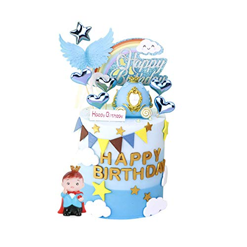 KATELUO Tortendeko Geburtstag, Kuchendeckel Topper, Cake Toppers Supplies Prinz, Kürbiswagen, Engel's Flügel, Regenbogen, Herz für Kinder, Mädchen, Junge(Blau)…