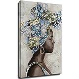 Figura abstracta mujer africana pañuelo pintura al óleo sobre lienzo arte de la pared de la impresión de cuadros para la decoración del hogar Mural Cuadros Unframe-style1 40 x 60 cm