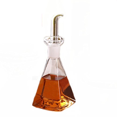 Eleton Square Bottom 14 oz Oil & Vinegar Cruet with Drip-free Spouts,Kitchen Clear Glass Oil Bottle Jar
