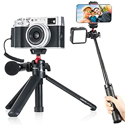 Ulanzi MT-16 Camera Tripod Mini Selfie Stick Tabletop Tripod with Cold Shoe,Travel Tripod for Phone 12 Canon G7X Mark III Sony ZV-1 RX100 VII A6600 Vlogging Filmmaking Live Streaming from ULANZI