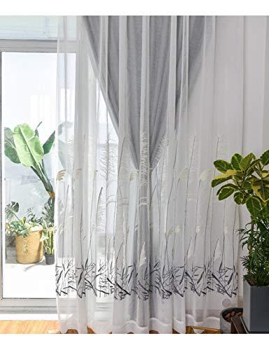 Lactraum Rideau de salon transparent blanc avec œillets brodés roseau 200 x 245 cm