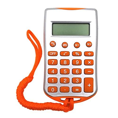 calculadoras Pocket Mini Calculadora 8 Digit Pantalla LCD Grande para La Sala De Escritorio del Estudiante Oficina De Lanyard Calculators Calculadoras Básicas (Color : Orange)