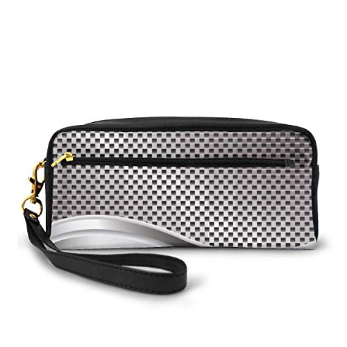 Pencil Case Pen Bag Pouch Stationary,Technology Structure with Wavy Stripe and Checkered Motif Industrial Grid Print,Small Makeup Bag Coin Purse