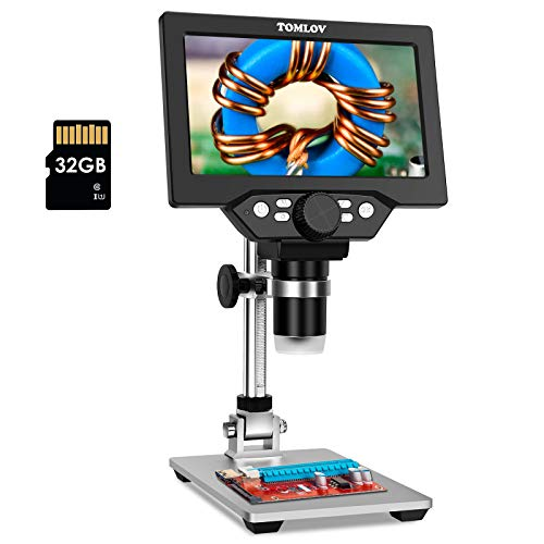 TOMLOV 7' LCD Digital Microscope 1-1200X Magnification with 32GB SD Card, 1080P Electric Microscope with Metal Stand, 12MP Ultra-Precise Focusing Camera, Windows/Mac Compatible