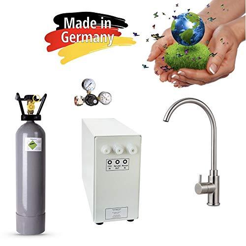 Sprudel-Lok Sprudel aus dem Wasserhahn! Untertisch-Trinkwassersystem - Trinkwassersprudler NEUHEIT! inkl. 1-Weg-Zusatzarmatur Sandra Edelstahl Massiv + 2 Kg CO2 Flasche Made in Germany