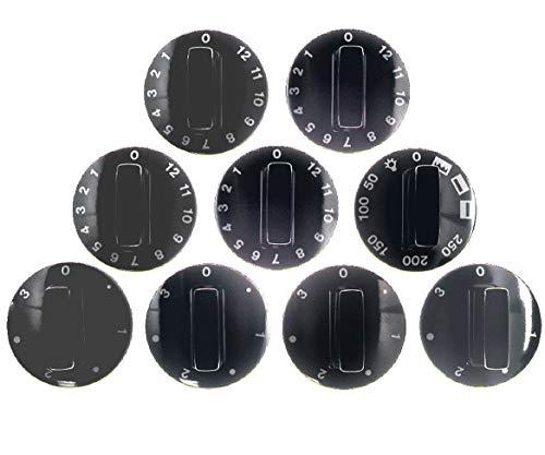 Knebelset, Drehknopfset, Knopf universal 7-teilig schwarz für Backofen, Herd