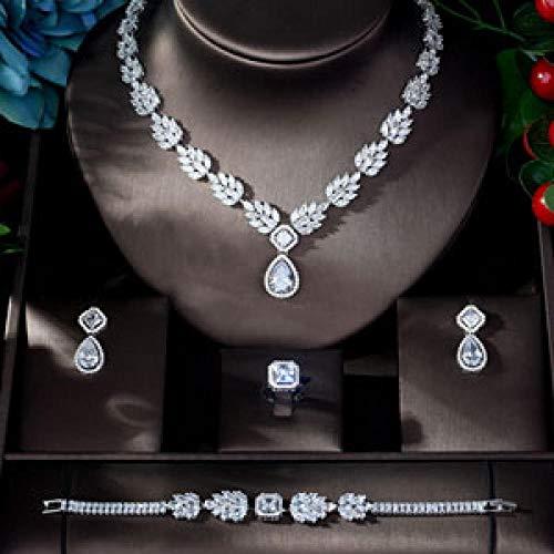 Jskdzfy Juego de joyas de boda de circonio de lujo para novias, pendientes de cobre y joyería de moda (color chapado en oro blanco)