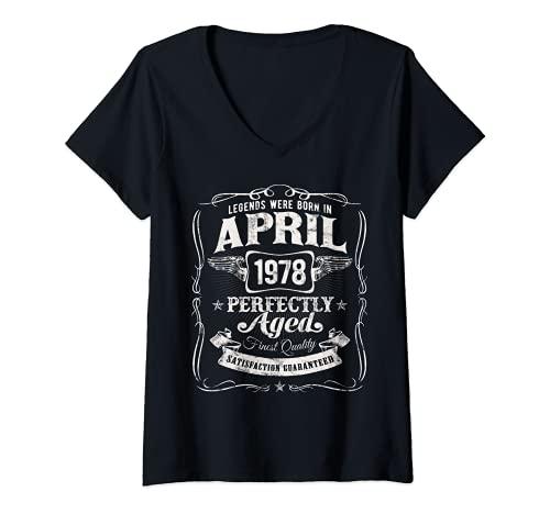 Mujer Las Leyendas Nacieron en Abril de 1978 44 Cumpleaños Camiseta Cuello V