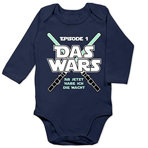 Shirtracer Zur Geburt - Das Wars Jetzt Habe ich die Macht Junge - 3/6 Monate - Navy Blau - Baby Body das Wars - BZ30 - Baby Body Langarm