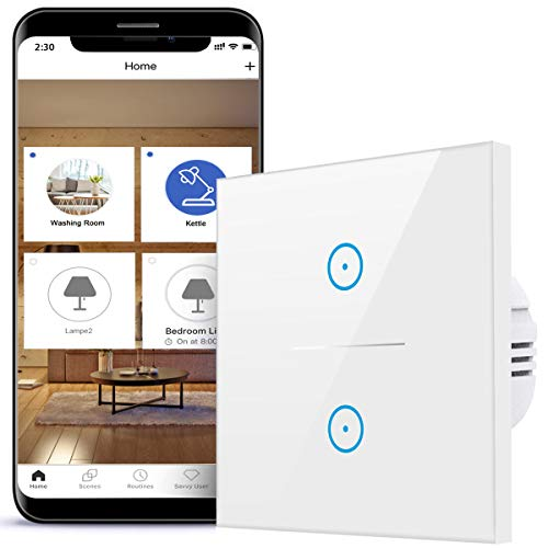 Interruttore della luce intelligente, 2 vie, 2,4 GHz, compatibile con Alexa, Google Home e IFTTT, vetro touch screen con app Smart Life, nessun hub necessario (bianco, N Wire Needed) (2 vie)