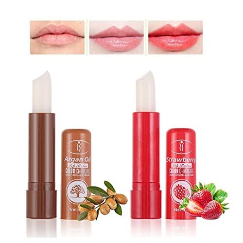 Set 2 Lipstick pintalabios mágico de aceite de argán y fresa. Barras de labios hidratantes duradero. Cambia de color con la temperatura 2 unidades