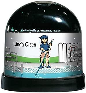 PrintedPerfection.com Personalized NTT Cartoon Caricature Snow Globe Gift: Pool Cleaner Female