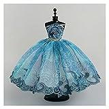 Decoración de la Ventana Artesanías Lindas Juntas Ballet Vestido de Tutu para la muñeca de Barbie Trajes de Ropa de muñeca 1/6 Accesorios de muñeca Rhinestone 3-Capa Falda Bola Bola Vestido de Fiesta