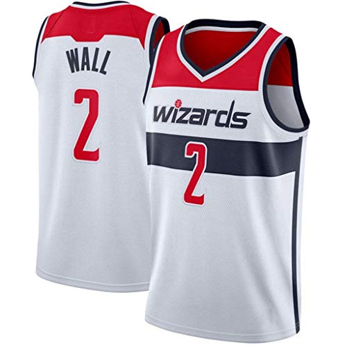 LSJ-ZZ Camiseta de Baloncesto NBA Washington Wizards # 2 John Wall, Tela Transpirable Fresca Nuevas Camisetas Retro Bordadas, Uniforme de fanático de Baloncesto Unisex,Blanco,M:175cm/65~75kg