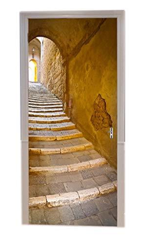A.Monamour Türtapeten Selbstklebend 3D Steinstufen Treppe Treppenhaus Schmale Gasse Italien Toskana Mittelalterliche Stadt Antike Architektur Türtapete Türposter Tapete 77x200cm