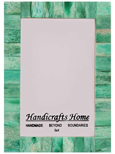 Handicrafts Home Marcos Foto Marco Fotos Oferta Chic Shabby Madera Vintage Natural Artesanal Hueso Tamaño Clásico 4x6 12.7x17.8cm - Verde, 10cm x 15cm