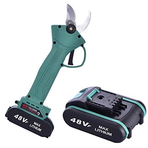 Elektrische Astschere 48V Akku-Rebschere 2 Batterie, 30mm Akku-Astschere, Elektrische Gartenschere, Weichgummi-Griff, 4-6 Arbeitsstunden, ergonomisches Design, Schnellschneidende