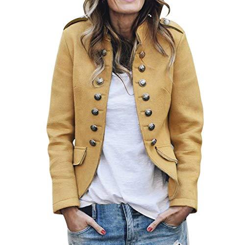 Damen Schöne Retro Herbstjacke mit Button Pockets Blazer Dünne Bomberjacke Freizeitmantel Outwear Cardigan URIBAKY