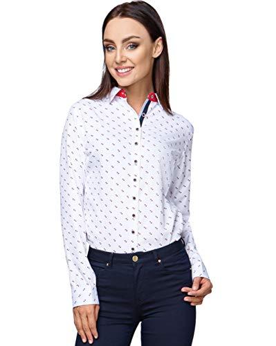 HEVENTON Bluse Damen Langarm in Weiß Hemdbluse - Größe 34 bis 42 - elegant und hochwertig 1193 Farbe Weiß, Größe 38