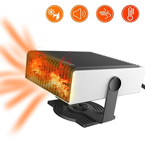 KENANLAN Tragbare Auto Heizung, 2 In 1 24 V 240 Watt Stecker in Auto Heizung Windschutzscheibe Defogger Heizung & Kühlventilator, 180 Grad Whirling/Geräuscharm (Schwarz + Weiß (24 V))