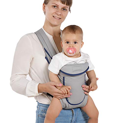 Baby Carrier, All-in-1 Positions Convertible Infant Carrier Adjustable Straps Breathable Mesh Ergonomic Soft Carrier (Grey)