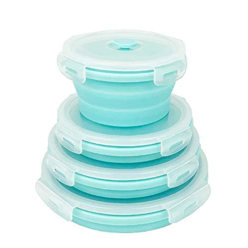 Conjunto de 4 recipientes de Silicona Plegable Redondo. Recipientes de Almacenamiento de...