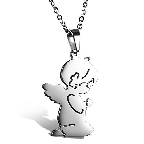 Cupimatch Edelstahl Damen Mädchen Kette mit Anhänger Amulett, Gebet Engel Mädchen Engelsflügel Design Halskette 45cm Schutzengel, Silber