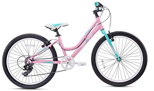 Brave Freestyle Kids 24' Girls Cruiser Bicycle, Lightweight Aluminum Frame and Fork, Easy to Ride! Premium Parts, Premium Safety, Without The Premium Price! (Pink/Cyan)