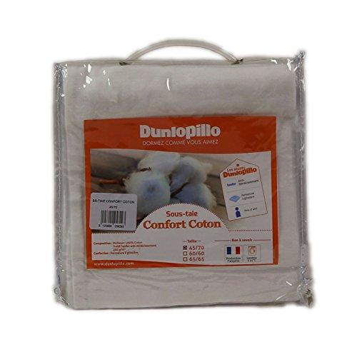 Dunlopillo Confort Coton Sous-Taie Blanc 65 x 65 cm