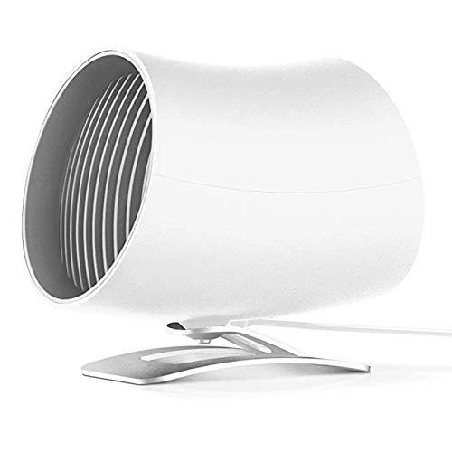 QHGao mini-USB-ventilator met overbruging: koelventilator voor kleine personen, turbo met dubbele aanraking, stille lucht en bionisch design (kleur: zwart, wit)