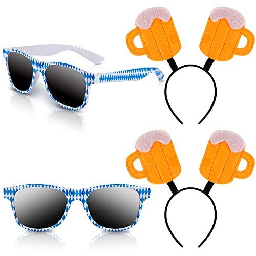 2 Pares Gafas de Sol de Fiesta Cerveza y 2 Diademas de Jarra de Cerveza Gafas de Sol Divertidas de Fiesta Gafas de Sol a Cuadros Azules Blancos para Decoración Temática de Fiesta Fotomatón