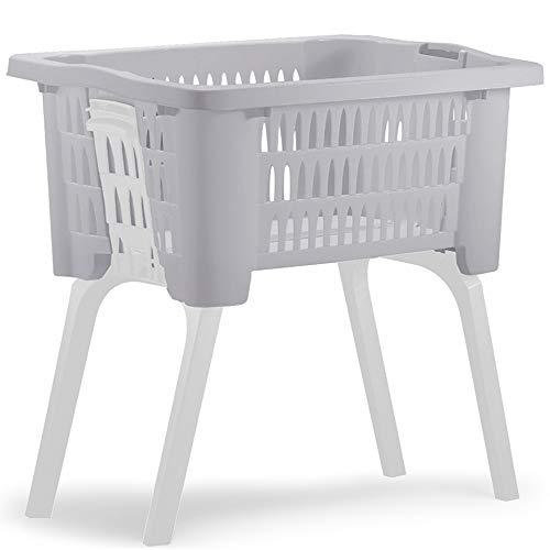 Wäschekorb mit ausklappbaren Beinen aus Kunststoff Wäschesammler Tragegriffe arbeitserleichternd 38 Liter 60x40x58cm Grau