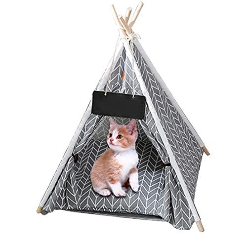 Hainice Tienda de Mascotas Cama-Mascotas Teepee Dog/Cat Tent portátil Lavable Lavable Removible Colapso Casa de Lienzo, Perro/Cat Bed Play House-19.69x19.69x23.62 Pulgada