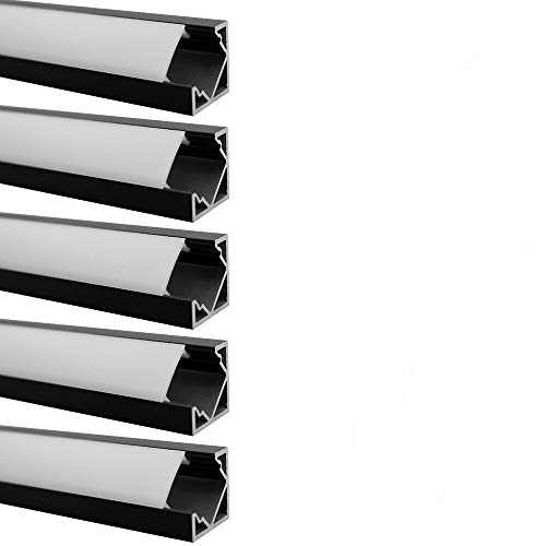 LightingWill 10-Pack V-Shape LED Aluminum Channel 3.3ft/1M Anodized Black Flush Corner Mount for <12mm Width SMD3528 5050 LED Strips with Milky White Cover, End Caps and Mounting Clips V03B10 Georgia