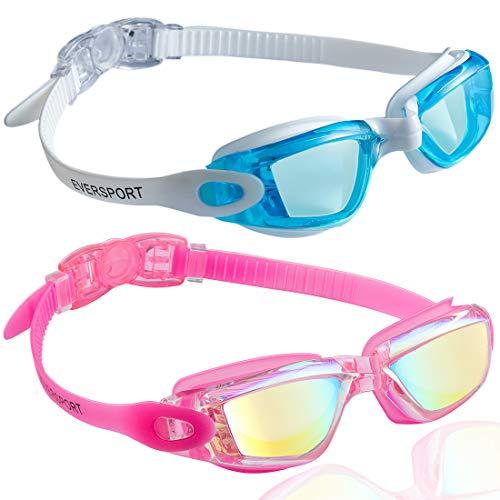 EverSport Swim Goggles, Pack of 2, Swimming Glasses for Adult Men Women Youth Kids Child, Anti-Fog, UV Protection, Shatter-Proof, Watertight(LightBlue&Mirrored Rose Red)