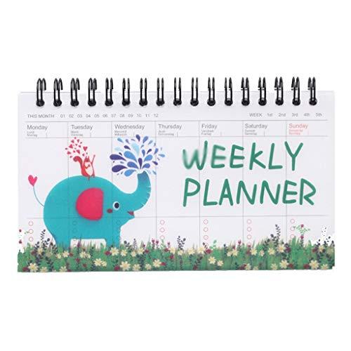 Cuadernos de Diario en Blanco de Papel Rayado Plan Cute Cartoon Coil Can Tear Week Plan Schedule Notepad Simple Notebook Paquete de Trabajo Escolar Diario de Cuaderno de p (Color : A)