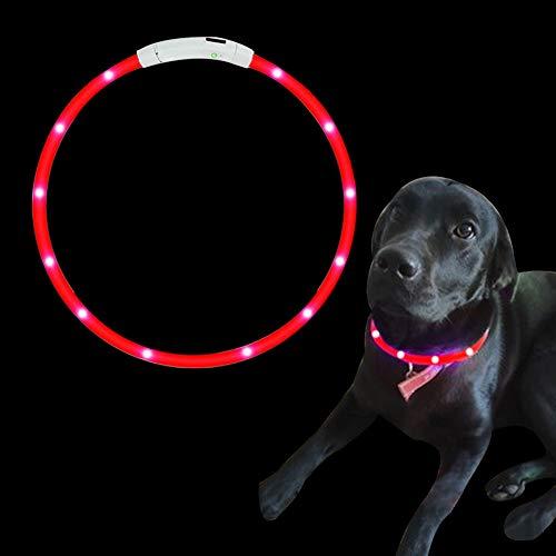 SaponinTree LED Collare per Cane, Collare di Sicurezza a LED Ricaricabile Ultra Luminoso, Ricaricabile e Misura Regolabile Collare per Cani, Gatto, 27.5 Pollici / 70 CM (Rosso)