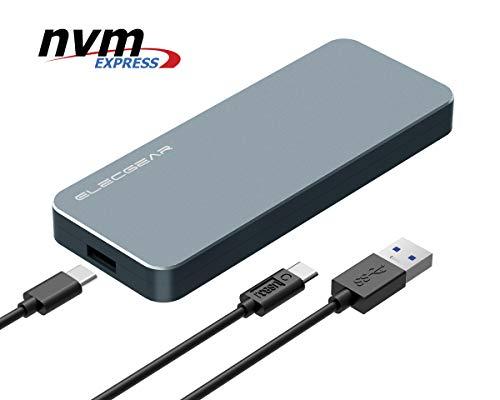 USB 3.1 NVMe M.2 SSD Caja de Carcasa - ElecGear NV-i9 Disco Duro Adapter, 10Gbps Aluminio Radiator Case Adaptador convertidor para PCIe NVMe 2280 M2 M-Key NGFF SSD Disk Drive, USB Tipo A y C Cable