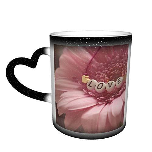 Taza de café cambiante mágica, pulsera de amor, flor de Gerbera personalizada, impresión de cerámica, sensible al calor, para familiares amantes, amigos, regalo