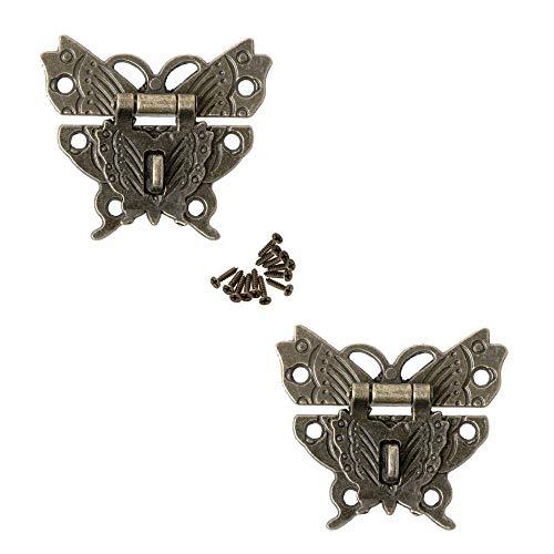 2 piezas Mariposa Hebilla del Cerrojo del Vino De La Caja Madera con El Bloqueo De La Hebilla Candado Antiguo Hardware Hebilla de Candado para Cerradura de Placa de Bloqueo Decorativa